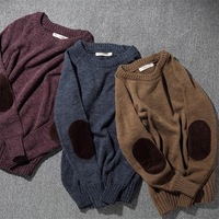 The here corduroy patches Japanese pure color restoring ancient ways round collar pullovers male Rabbit hair blended knitwear
