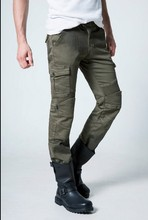 uglybros MOTORPOOL UBS06 jeans Motorcycle jeans The fashion leisure road locomotive jeans Black army green