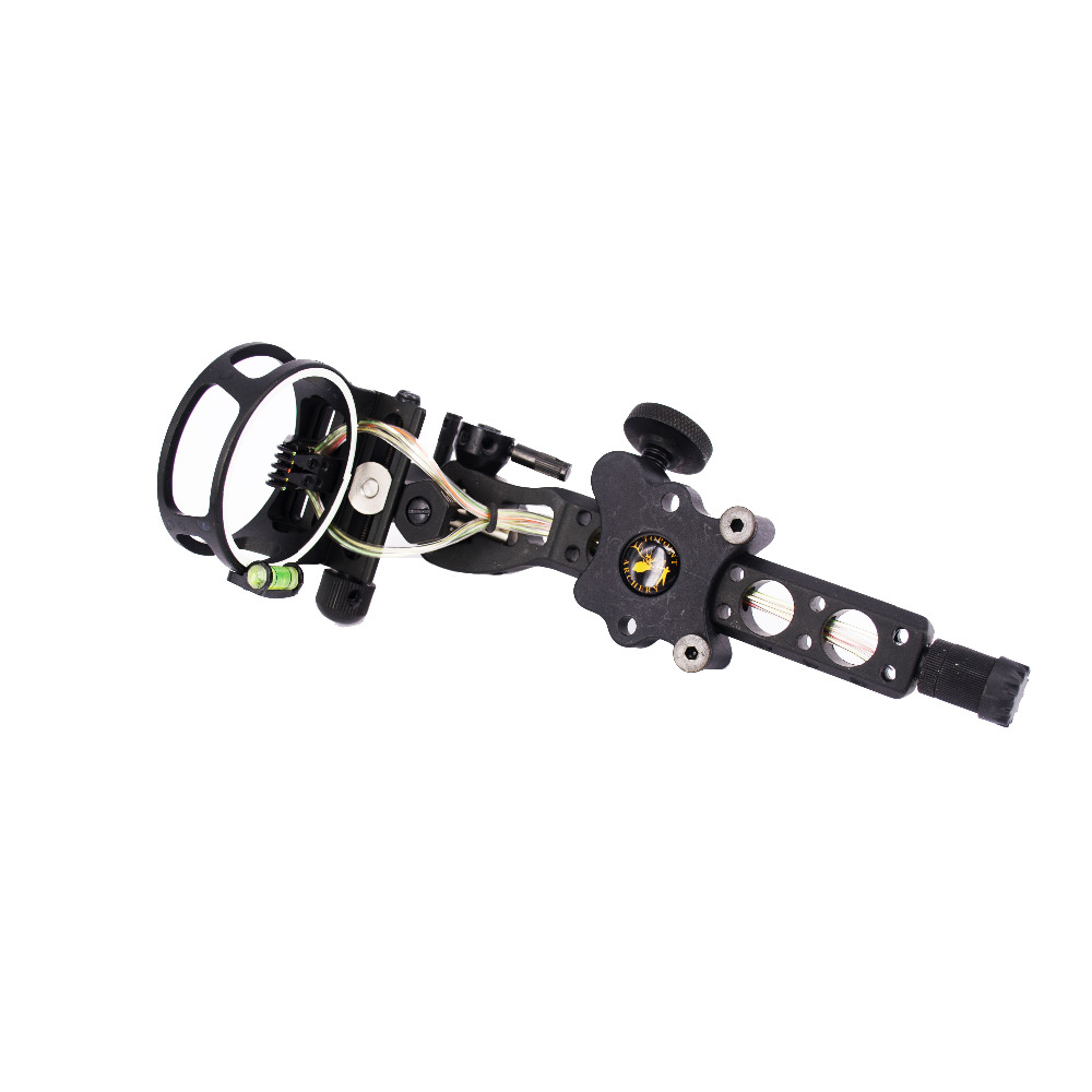 Free shipping 1 pcs High-quality 5 pins 019 Bow Sight with Micro Adjust Detachable Bracket Sight Light for compound bow archery