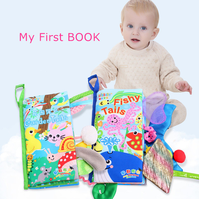 NEW Designs Baby Toys Animal Tails Cloth Books 0~12 Months Boy Girl Quiet Book For Kids Education Activity Books SZ43