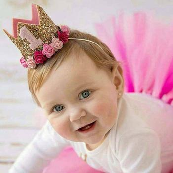 Baby Birthday Party Hat With Hairband Princess Queen Crown Lace Hair Band Elastic Head Wear Hat Cartoon Hat