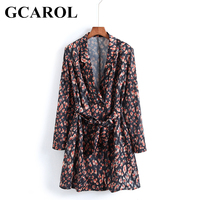 GCAROL 2018 Early Spring Women Floral Suits Dress V Neck Female Dress With Sashes Bowknot Elegant