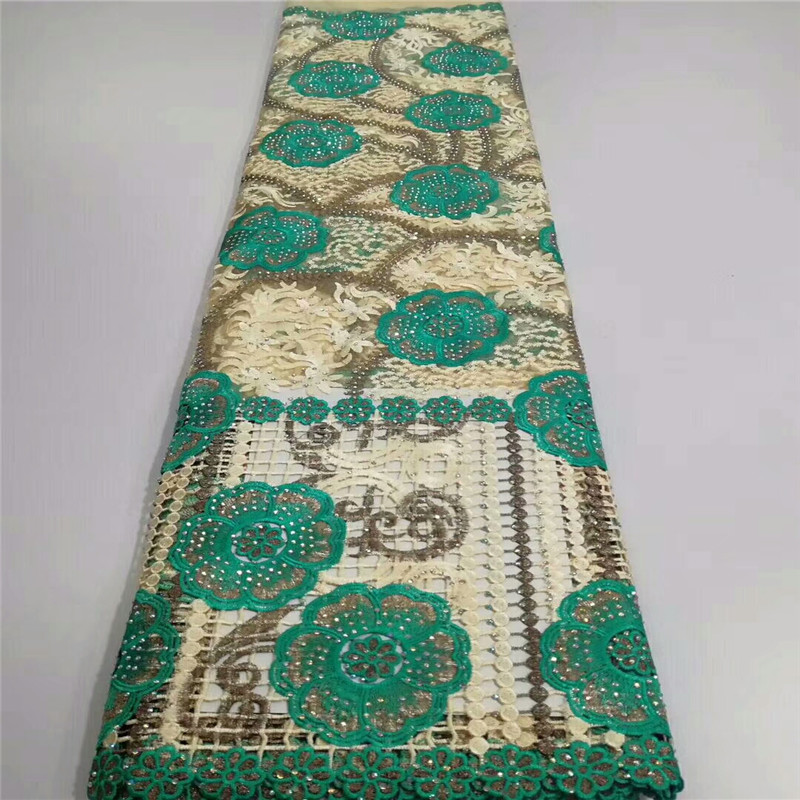 2018 Green Embroidered African Lace Fabric High Quality Cord Lace Guipure Lace Fabric with Stones Water
