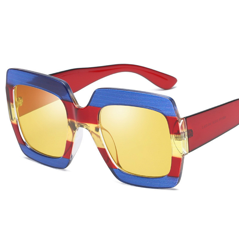 Tvvovvin 2019 New Summer Big Square Resin Women Sunglasses Vintage Printing Ladies UV400 Sun Glasses SG001(China)