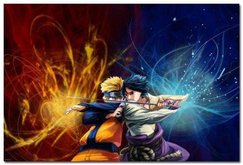 Home Decor Anime Naruto Shippuden Naruto VS Sasuke Silk POSTER WALL Scroll