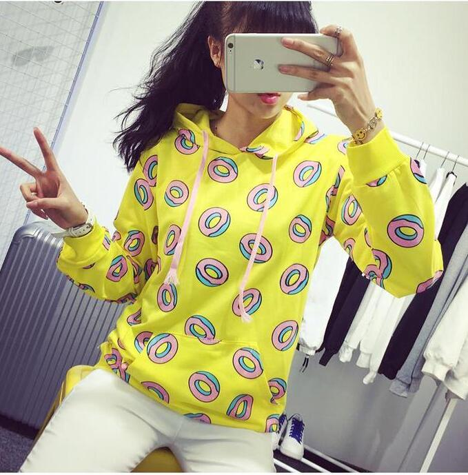 Cute donut print pullovers 2017 Spring women hoodies sweatshirts yellow large size M-XL sudaderas mujer fashion feminino moleton