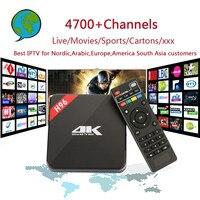 H96 Android TV Box Amlogic S905 IPTV 4700 + Canaux Nordique, Arabe, Europe, Amérique Du Sud Asie IPTV avec Adulte Cadeau Set Top Box