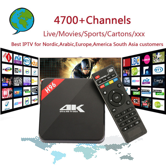 H96 אנדרואיד הטלוויזיה Box Amlogic S905 IPTV 4700 + ערוצים נורדי, ערבית, אירופה, אמריקה דרום אסיה IPTV עם מתנה למבוגרים להגדיר תיבה עליונה