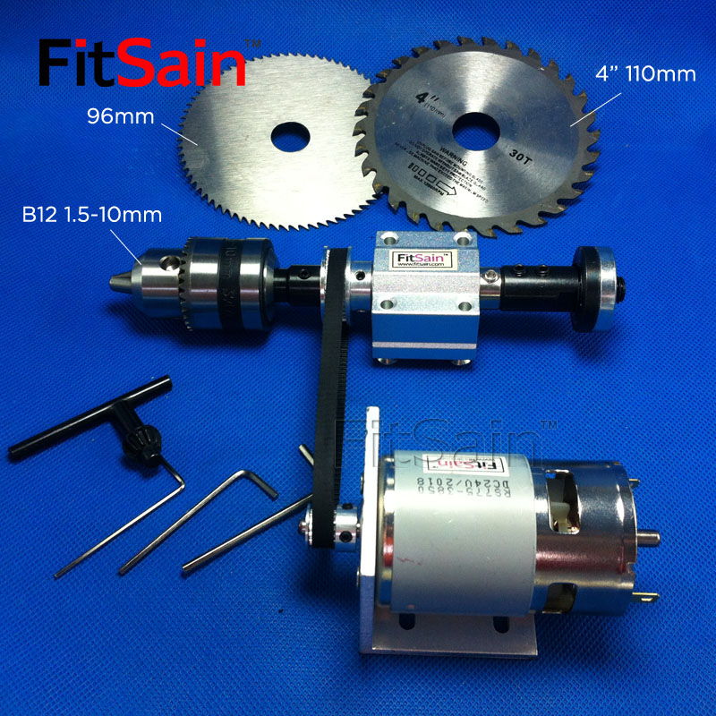 FitSain mini table saw spindle 2GT 775 DC24V 8000RPM B12 1 5 10mm DIY bench saw