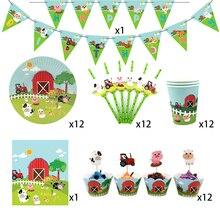 62 Uds. Para 12 niños animales de granja cerdo vaca tema suministros para fiesta de cumpleaños juego de vajilla, plato + taza + paja + banner + mantel ect