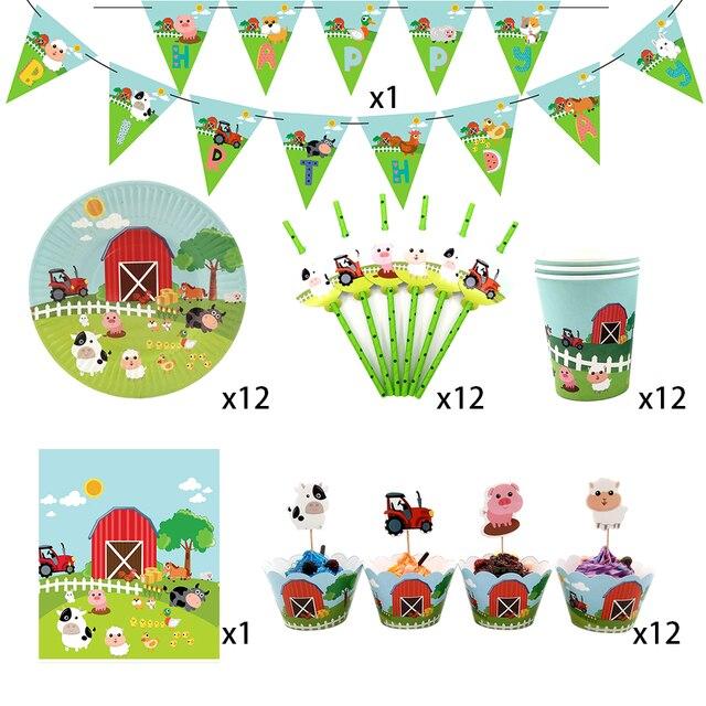 62 peças para 12 crianças animais de fazenda porco vaca temática de aniversário festa de suplementos conjunto de talheres, placa + copo + canudo + bandeira + etc da mesa