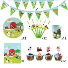 62Pcs for 12kids Farm Animals Pig Cow theme birthday party supplie tableware set, plate+cup+straw+banner+tablecover ect(China)