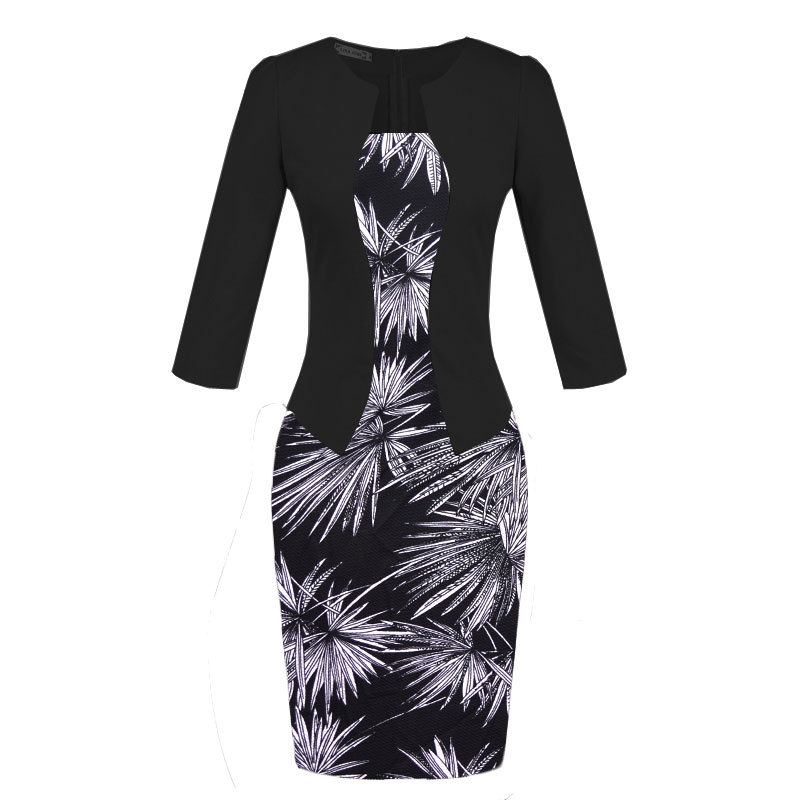 2019 Elegant Office Work Bodycon Spring Midi Dress Fake Two Piece Women Dress Plus Size Print Patchwork Hip Pencil Dresses Belt