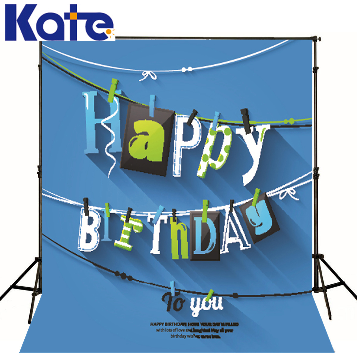 kate Photographic background Happy Birthday blue background letter rope clip photo No creasesbackdrops baby princess сумка kate spade new york wkru2816 kate spade hanna