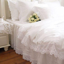 Fashion European bedding set white satin hollow out embroidery bedding duvet cover cotton elegant bedspread lace pillowcase