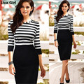 Liva Girl 2017 ukraine Women work Dress spring summer office dress striped vestido de festa