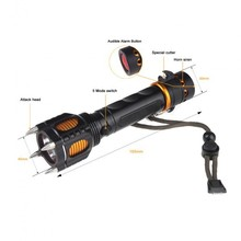 5 model 2000 Lumen Led Cree XM-T6 Torch Camping Equipment Lamps With Rivet Knife Alarm+AC/Car charger +2*18650 battery light