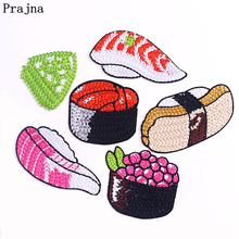 Prajna Japanese Sushi Embroidered Patches For Clothing Cartoon Iron On Clothes Stripes DIY Badges Jackets
