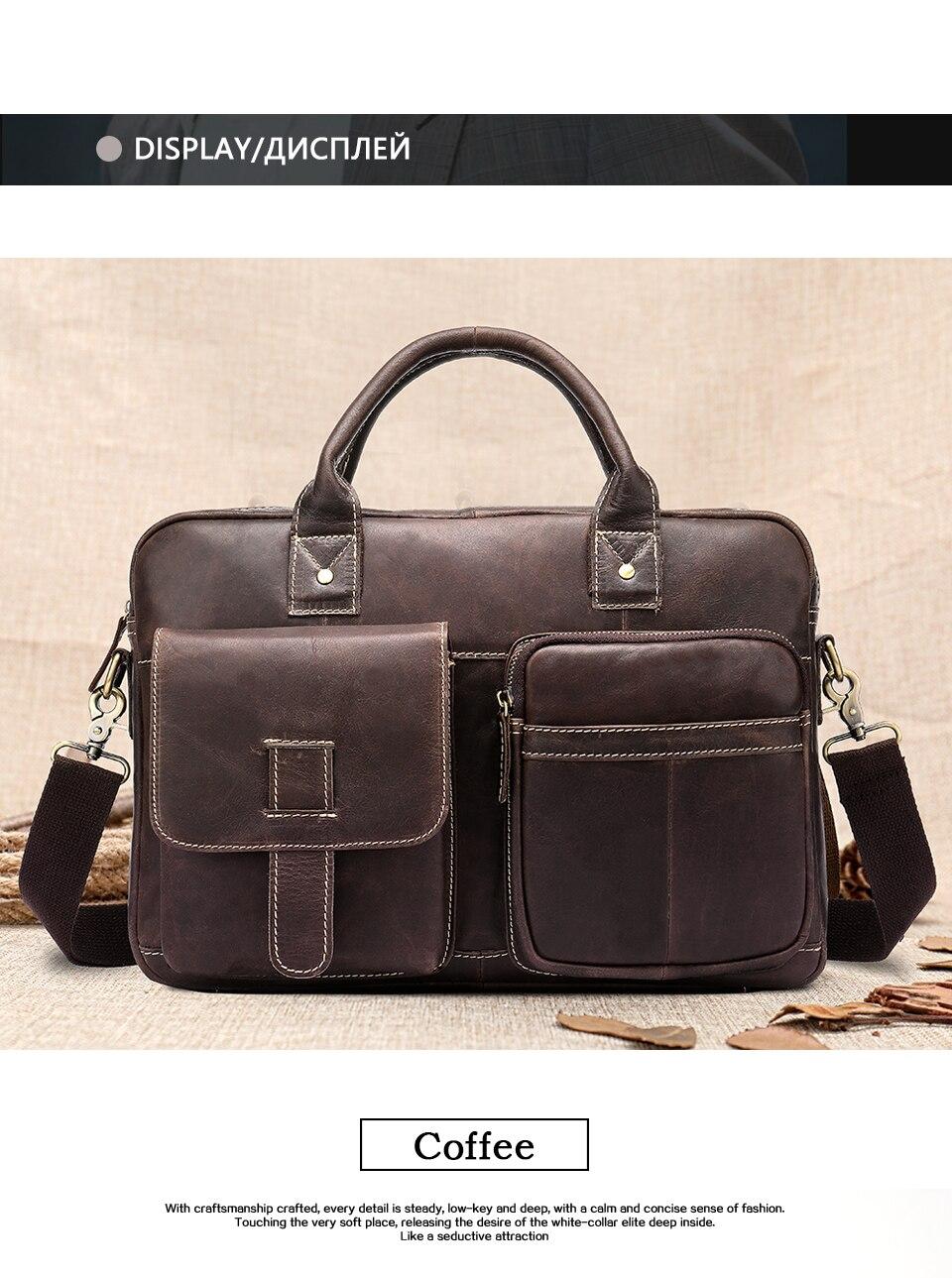 HTB1NPbvasfrK1Rjy1Xdq6yemFXaG WESTAL men's briefcase bag men's genuine Leather laptop bag office bags for men business porte document briefcase handbag 8503
