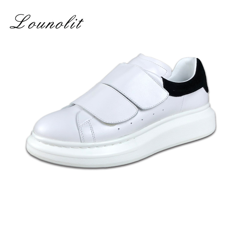 2018 New Fashion Shoes Women Sneakers Genuine Cow Leather Shoes For Women Comfortable Footwear Flat Platform Shoes Casual Shoes
