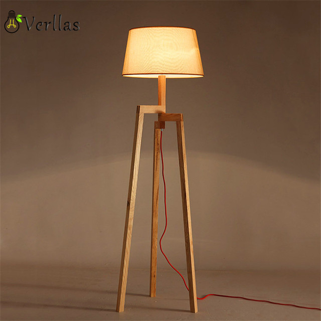 Wooden Floor Lamp Modern With Foot Switch Living Room Bedroom Study Standing Lamps White Fabric