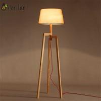 Wooden Floor Lamp Modern with foot switch Living Room Bedroom Study Floor Standing Lamps White Fabric wooden floor lights Decor