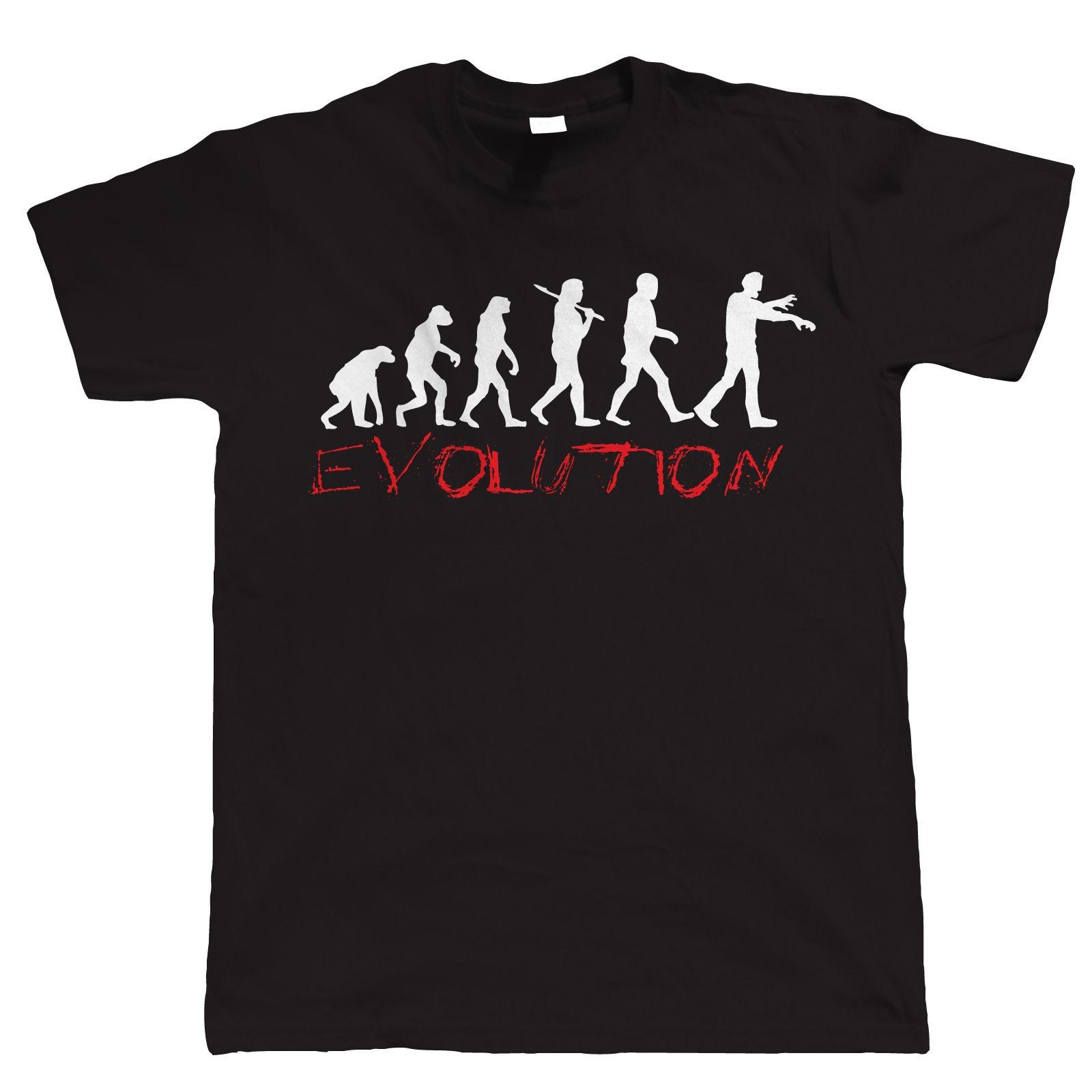 Эволюция зомби Веселые Мужская футболка-подарок на день рождения для папы его Рубашка с  ...