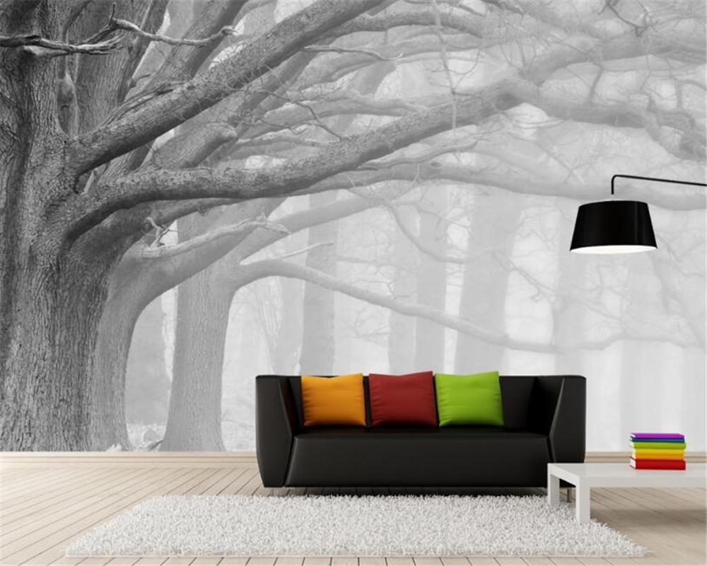 Купить с кэшбэком Beibehang 3D wallpaper living room bedroom murals modern black and white forest tree art TV wall murals wallpaper for walls 3 d