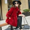 2017 Nova outono e inverno rex naturais de coelho casacos de pele das mulheres gola de pele real de longo casaco outerwear plus size frete grátis