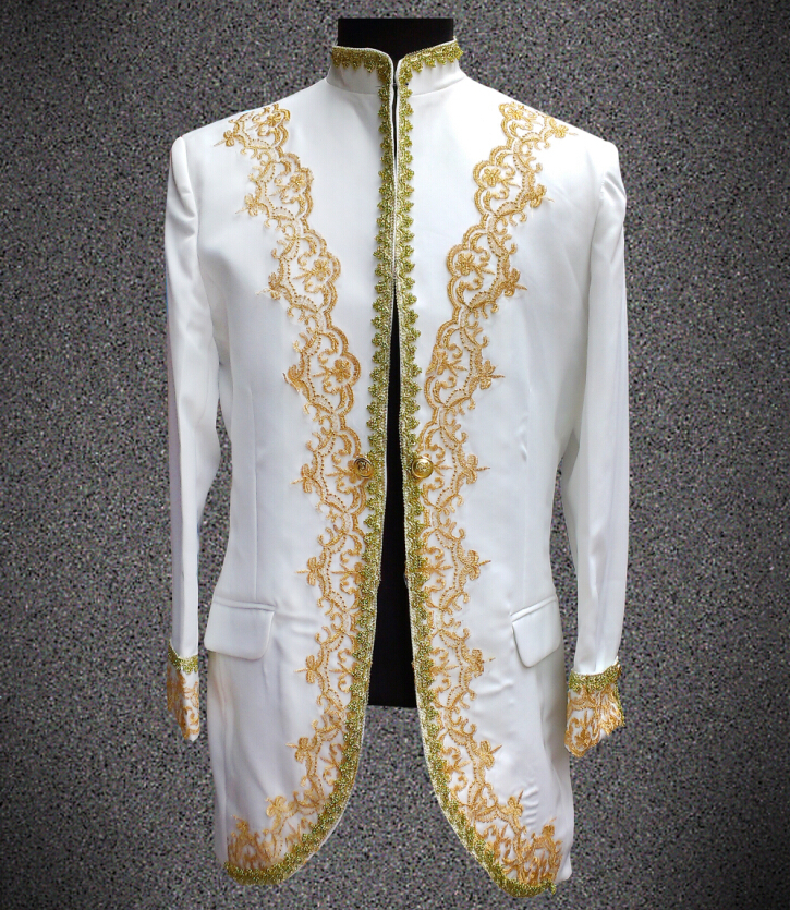 2016 New Style Mens Plus Size Long Jacket Male Royal Costume Black White Red Stage Wear Coat