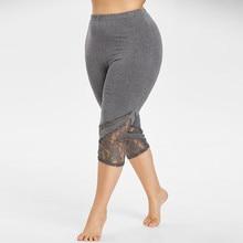 Женские леггинсы плюс размер Лоскутные штаны с потертостями обтягивающие эластичные брюки с высокой посадкой Талия летние укороченные Леггинсы для фитнеса, брюки#5