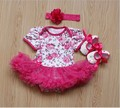 3pcs Rose Baby Clothing sets (Romper+Headband+Shoe)Newborn Baby Lace Rompers Baby Girls 1st Birthday Dress Jumpsuit Outfits