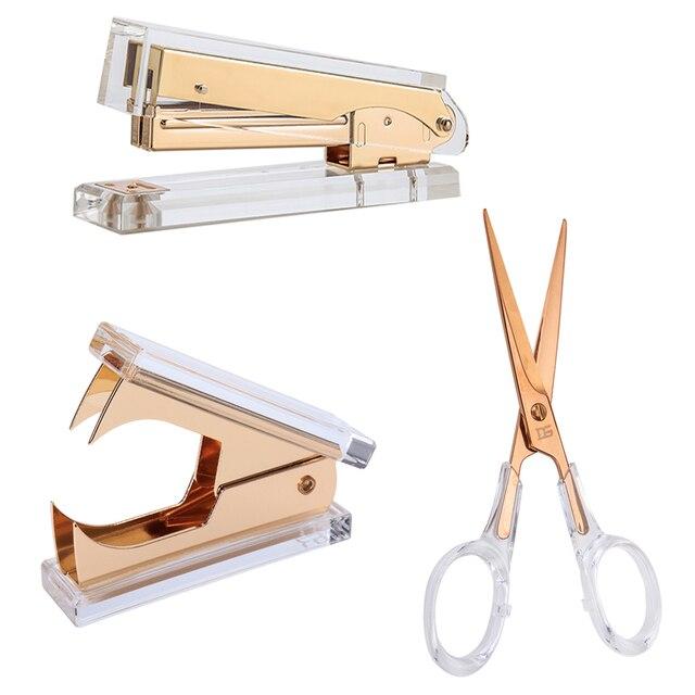 Akrylowe złote nożyczki i zszywacz wysokiej jakości akrylowe zszywacze