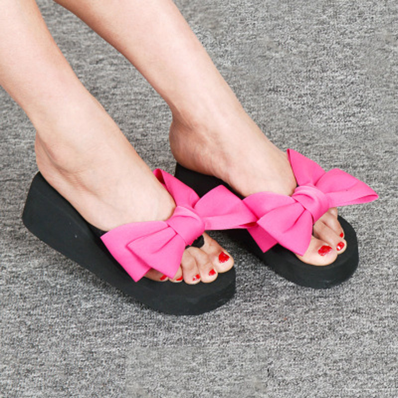 2018 New Flip Flops Fashion Solid Women Shoes EVA Platform Slip on Summer Slipppers Shoes Women Big Bow Decoration Sandals Woman (18)