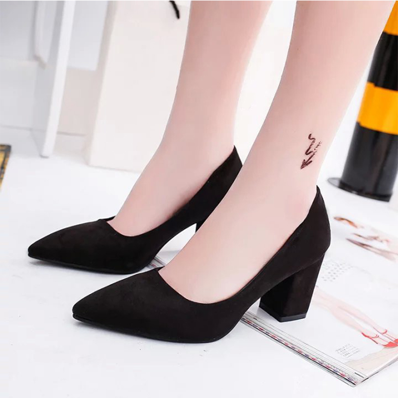 Gtime Pumps Work-Shoes Office High-Heels Pointed Female Black Thick Woman Mouth Red Shallow
