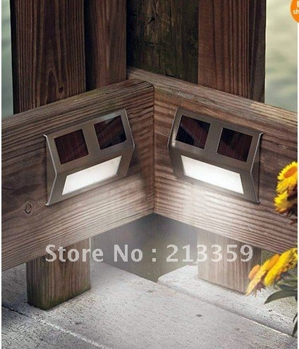 Free Shipping for 2 Solar Wedge Lights Corner Steps Fence Posts Deck Outdoor Patio Garden Lighting