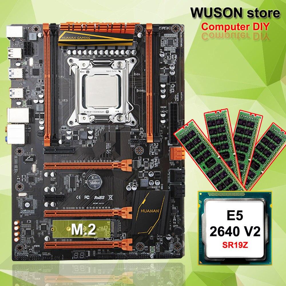 Caliente destacada HUANAN ZHI deluxe X79 de placa base de computadora de CPU Intel Xeon E5 2640 V2 SR19Z memoria 16G (4*4G) DDR3 REG ECC