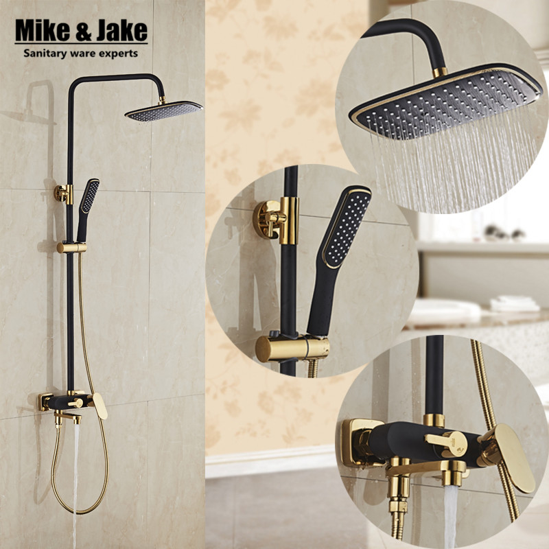 ФОТО Bathroom Luxury black Golden shower set shower antique gold shower set bathroom black color Shower faucet Bathtub Faucet JY5088