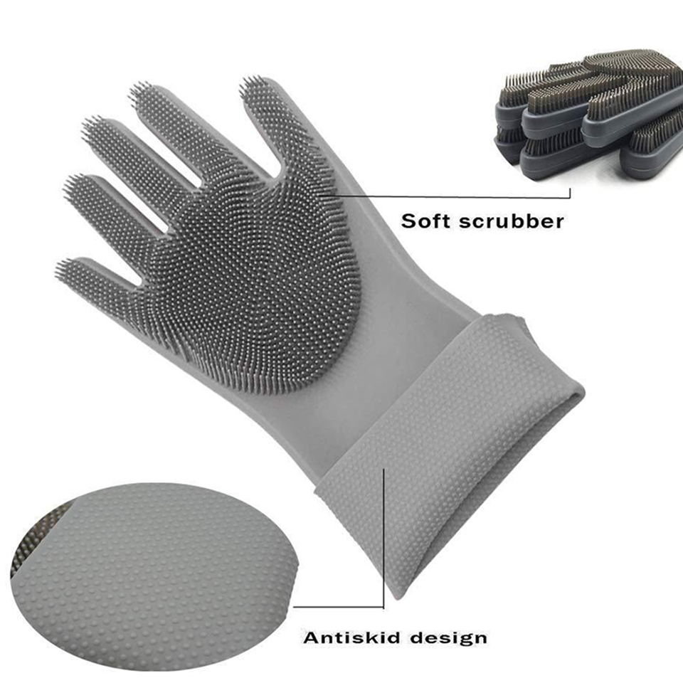 Magic Silicone Dish Washing Cleaning Sponge Scrubber Gloves With Long Bristles