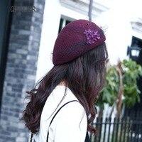 QPALCR New Fashion Wool Fedora Hats For Women England Mesh Formal Hat Berets Retro Painter Hat Lace Fascinator Stewardess Cap