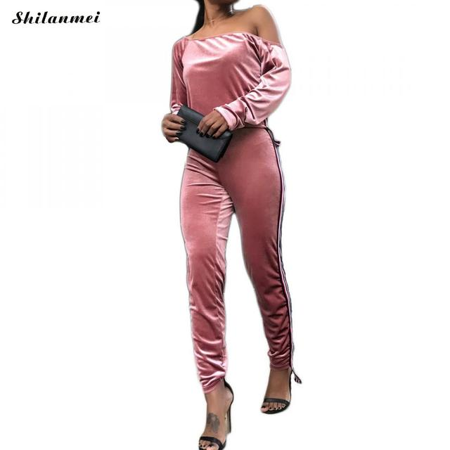 138d60b0d Satin two piece set tracksuit for women off shoulder elegant and pants set  2018 Spring women casual sweat suits fitness outfits