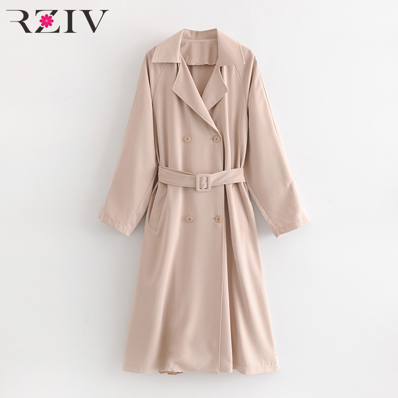 RZIV autumn and winter women's windbreaker casual solid color double-breasted belt decoration pleated stitching long   trench