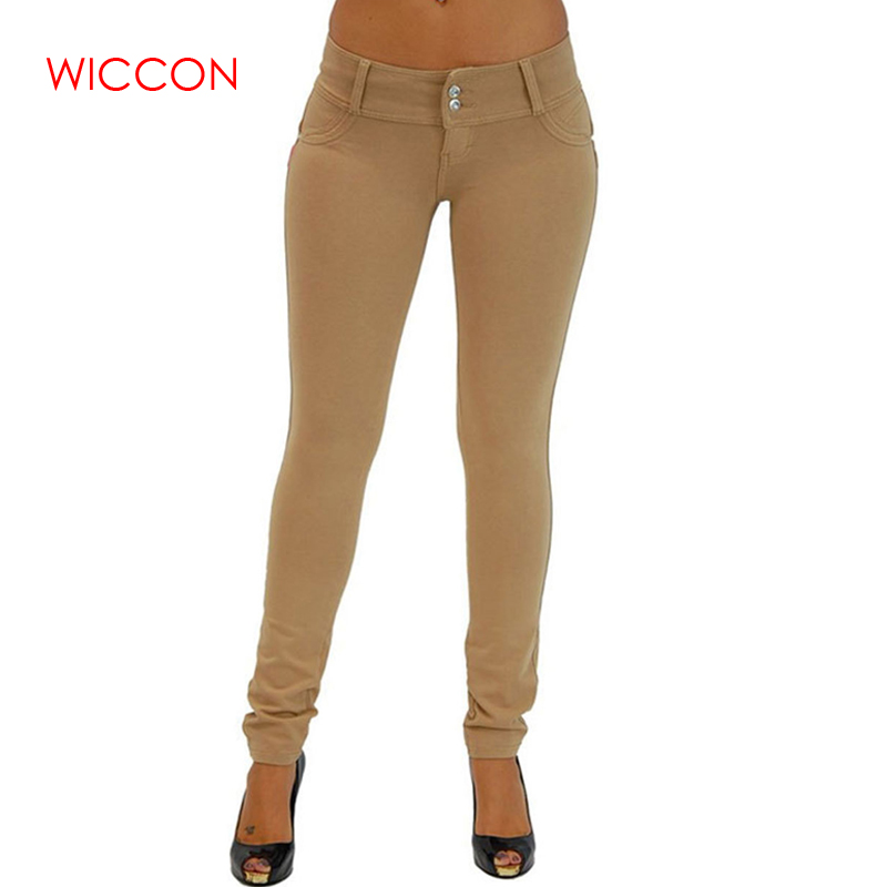 WICCON Elastic   Jeans   For Women 2019 New Solid Denim Trousers Slim Sexy Denim Skinny Pencil Pants Casual Autumn Winter Hot   Jeans