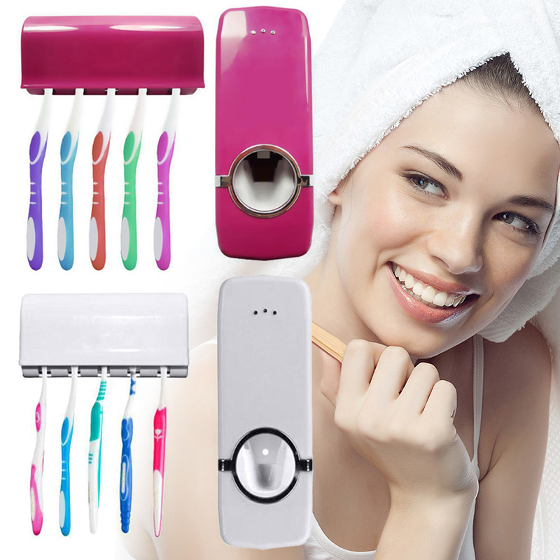 New Automatic Toothpaste Squeezer Toothpaste Holder Toothbrush Stand Sucker Suction Wall Mount Rack ABS Bathroom Accessories Set