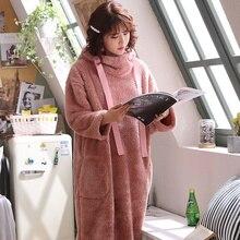 Winter Warm Bathrobes Women Robes Velvet Homewear Nightdress Hooded Sleepwear Suits Autumn Flannel Soft Robe