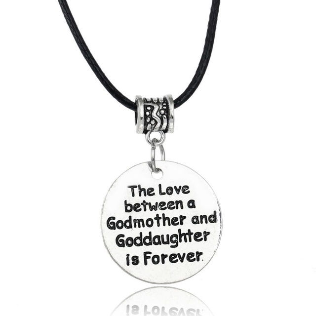 Love between a godmother and goddaughter is forever pendant leather love between a godmother and goddaughter is forever pendant leather chain necklace family women mom jewelry aloadofball Gallery