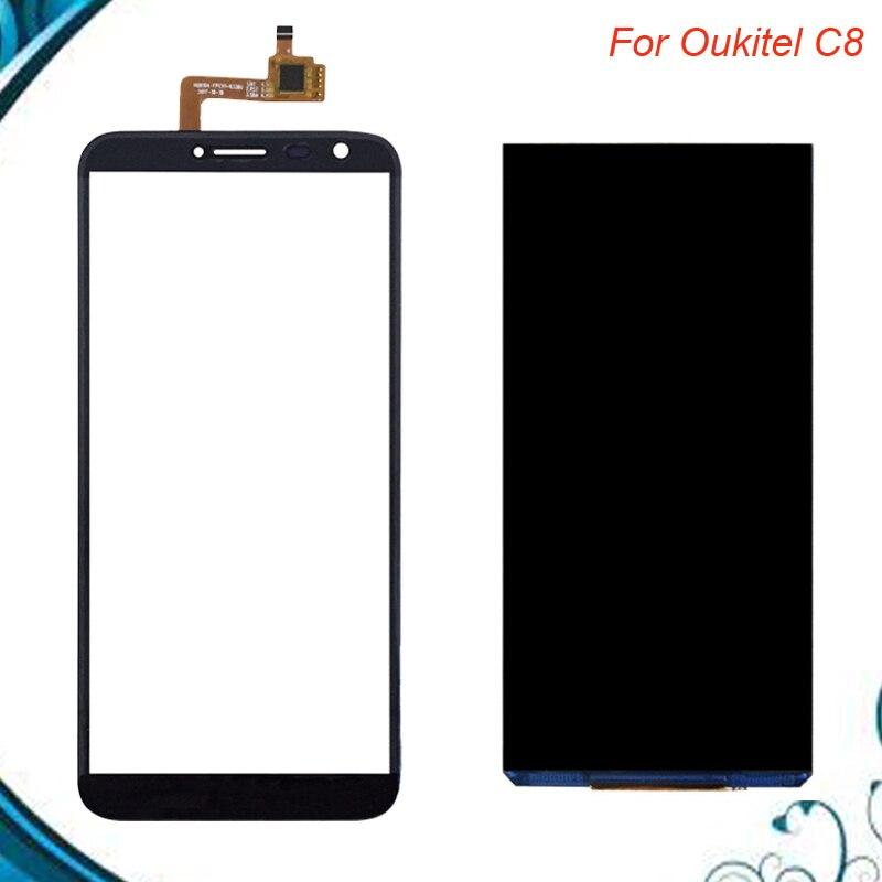 Para pantalla LCD Oukitel C8 + pantalla táctil LCD 100% probado + reemplazo de Panel de vidrio digitalizador para oukitel c8 en Stock
