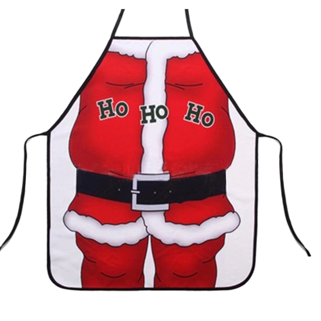 kitchen apron christmas Cartoon Santa Claus Apron Adult Free Size Pinafore Kitchen Cooking Tool christmas supplies 2018  - Red