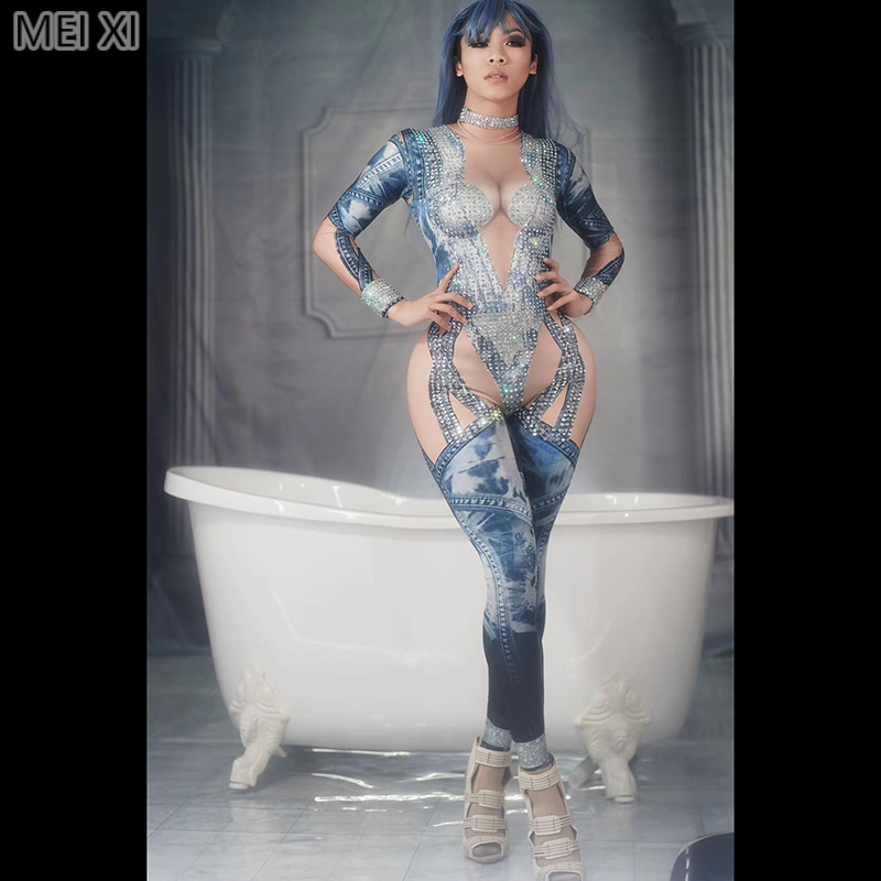 Unique Denim Blue Style Deep V Rhinestone Onesie Party Nightclub Bar Concert DJ Singer/dancer Costume