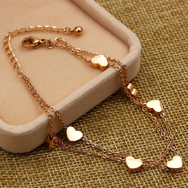 Super Lovely Seven Hearts Rose Gold Double Chain Anklet Titanium Steel Anti Allergic Anklet Jewelry Woman Kid Best Gift 5